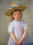 Cassatt Art - Girl with straw hat 1886 by Stefan Kuhn