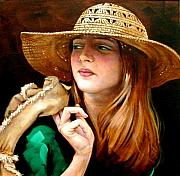 Lyrical Prints - Girl With Straw Hat Print by Jerrold Carton