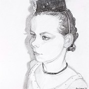Fathers Day Drawings - Girl With the Pill Box Hat by Debbie Beukema