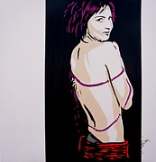 The Bare Back Prints - Girl with the Purple Pearls Print by Ian  King