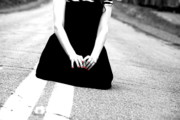 Black And White Photos - Girl With the Red Nails by Emily Stauring