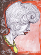 Profile Mixed Media Originals - Girl With the Yellow Pearl Necklace by Andreea Paraschiv