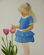 Girls Prints - Girl with Tulips Print by Joni McPherson
