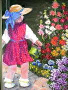 Flower Child Pastels - Girl with Watering Can by Curt Peifley
