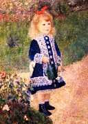 Garden Prints Paintings - Girl With Watering Can by Pg Reproductions