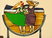 Amber Glass Art - Girlfriends on the beach by Shelly Reid