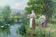 Fishing Painting Posters - Girls Collecting Flowers Poster by Henry John Yeend King