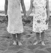 Barefeet Prints - Girls Holding Hand On Beach Print by Michelle Quance