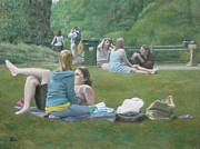 Grass Painting Originals - Girls in a Park by David Clemons