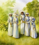 Women Together Painting Prints - Girls in the Band Print by Jane Whiting Chrzanoska