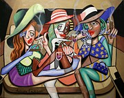 Girls Mixed Media Originals - Girls Night Out by Anthony Falbo