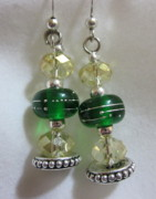 Dark Jewelry - Girls Night Out Dark Green with Silver and Amber Earrings by Janet  Telander