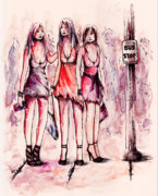 Dresses Drawings Posters - Girls Night Out Poster by Rachel Christine Nowicki