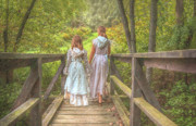 Yellow Bridge Digital Art Posters - Girls on Bridge Summer  Poster by Randy Steele