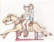 Sisters Drawings Originals - Girls on Mechanical Horse by Denny Phillips