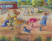 Pretending Posters - Girls Playing Horse Poster by Dawn Senior-Trask