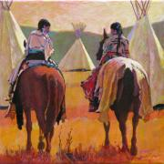 Blanket Framed Prints - Girls Riding Framed Print by Robert Bissett