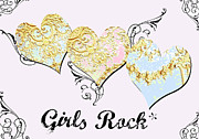 Juvenile Licensing Mixed Media Posters - Girls Rock Hearts Poster by Anahi DeCanio
