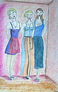 Standing Pastels Framed Prints - Girls Standing Framed Print by Jose Valeriano