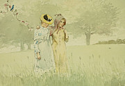 Orchards Painting Prints - Girls strolling in an Orchard Print by Winslow Homer