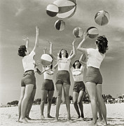 Memories Of The Past Posters - Girls Throwing Beach Balls In Air, 1961 Poster by Archive Holdings Inc.