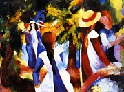 Macke Posters - Girls under trees Poster by Stefan Kuhn