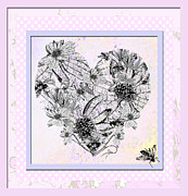 Juvenile Licensing Mixed Media Posters - Girly Girl Happy Heart Poster by ArtyZen Studios