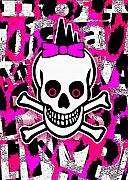 Girly Skull Posters - Girly Punk Skull Poster by Roseanne Jones
