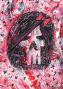Emo Skull Prints - Girly Scene Skull Print by Roseanne Jones