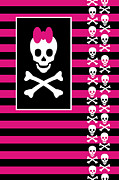 Girly Skull Posters - Girly Skull 5 of 6 Poster by Roseanne Jones