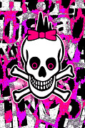 Girly Skull Posters - Girly Skull 6 of 6 Poster by Roseanne Jones