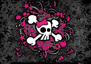 Girly Skull Posters - Girly Skull and Bones Poster by Roseanne Jones