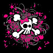 Girly Skull Posters - Girly Skull and Crossbones Poster by Roseanne Jones