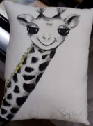 Pillow Tapestries - Textiles - Girraffe Pillow by Peg Vasil