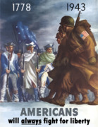 Revolutionary War Posters - GIs and Minutemen Poster by War Is Hell Store