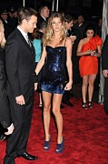 Gisele Bundchen Framed Prints - Gisele Bundchen Wearing A Versace Dress Framed Print by Everett