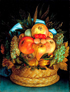 Arcimboldo; Giuseppe (1527-93) Metal Prints - Giuseppe Arcimboldo Fruits Basquet Metal Print by Pg Reproductions