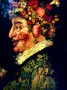 Pear Prints Framed Prints - Giuseppe Arcimboldo Man of Flowers Framed Print by Pg Reproductions