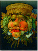 Pear Prints Framed Prints - Giuseppe Arcimboldo Man of Fruits Framed Print by Pg Reproductions
