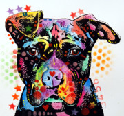 Animal Artist Posters - Give Love Pitbull Poster by Dean Russo
