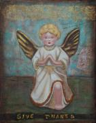 Gold Angel Card Posters - Give Thanks Poster by Lori Gilroy