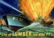 War Propaganda Digital Art Metal Prints - Give Us Lumber For More PTs Metal Print by War Is Hell Store