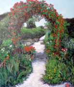 Rosebush Framed Prints - Giverney Garden Path Framed Print by Tom Roderick