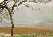 Signed Painting Prints - Giverny Countryside Print by Claude Monet