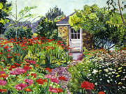 Flowers Impressionist Paintings - Giverny Gardeners House by David Lloyd Glover