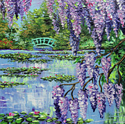 Lilies Painting Framed Prints - Giverny Lily Pond Framed Print by Beata Sasik