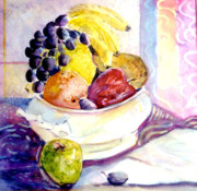 Grape Drawings Metal Prints - Giving Thanks Metal Print by Mindy Newman