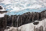 Glaciers Posters - Glacial Edge Waterfall Poster by Mike Reid