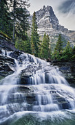 Donald Posters - Glacier National Park Waterfall Poster by Donald Schwartz