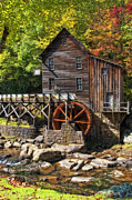 Fall Photos Prints - Glade Creek Grist Mill Print by Kathleen K Parker